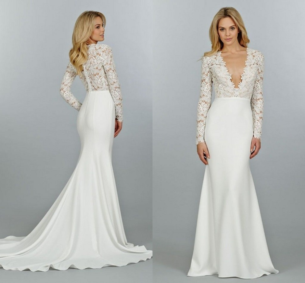 Sexy new arrival lace long sleeve beach mermaid trumpet for Modern long sleeve wedding dresses