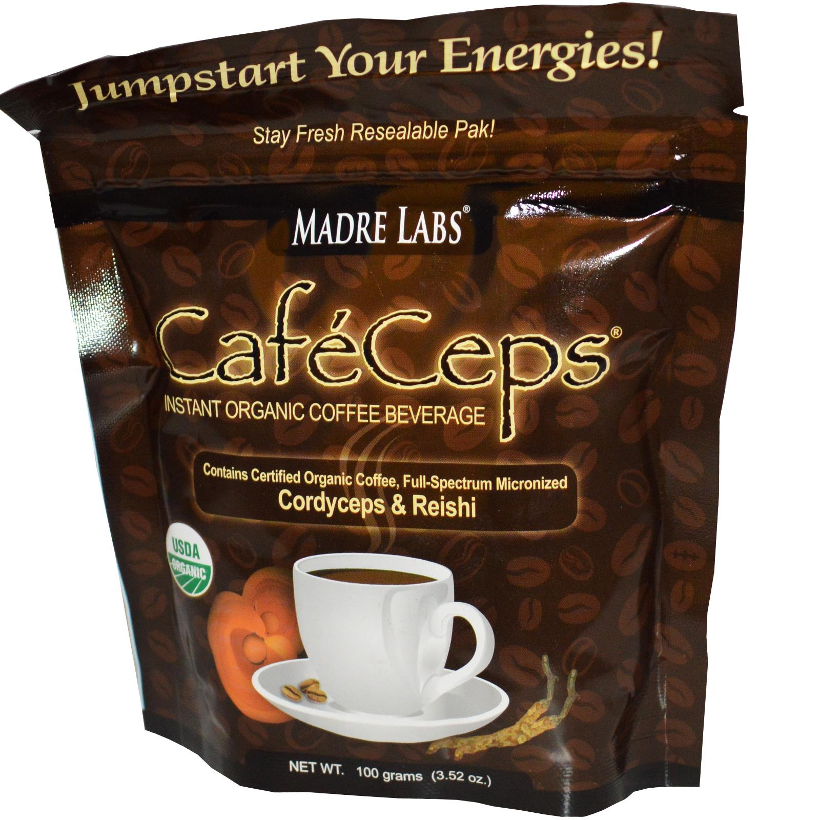 Madre Labs ganoderma lucidum Chinese caterpillar fungus Triad longevity and organic instant coffee 100 g free