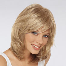 Amazing Hairstyle Medium Length Blonde Color Capless Wigs Synthetic Hair Wigs(China (Mainland))