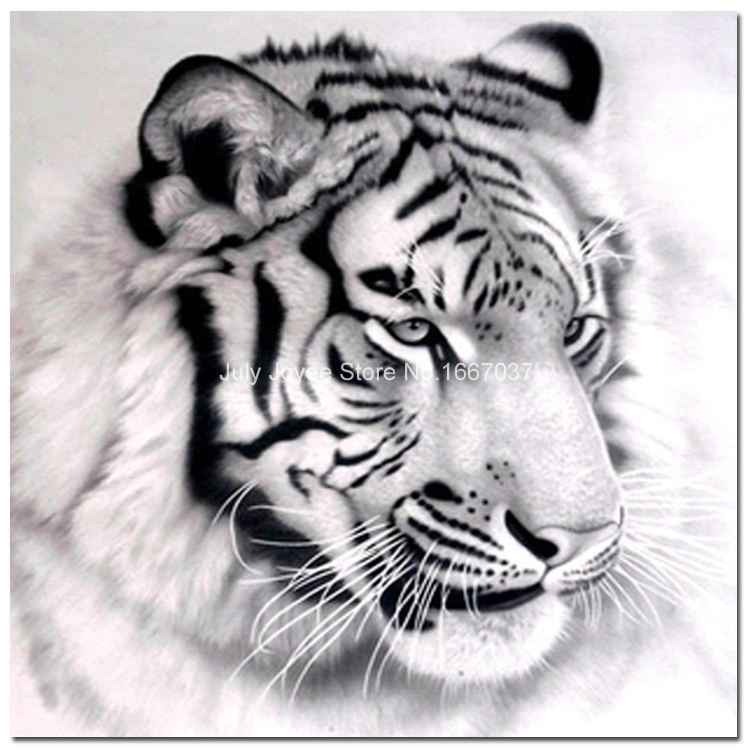 Un gran cabeza de tigre blanco y negro pintura de animales - Blanco y negro paint ...