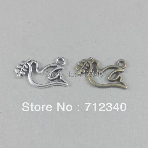 Jewelry Accessories 100Pcs/lot Antique Silver/Bronze Vintage Dove Alloy Charm Pendant 19*14MM 2101(China (Mainland))