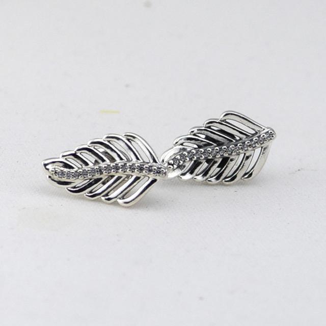 Мерцающие перья серьгу с камнями новый стерлингового серебра 925 серьги гипоаллергенный мода DIY ювелирных аксессуаров