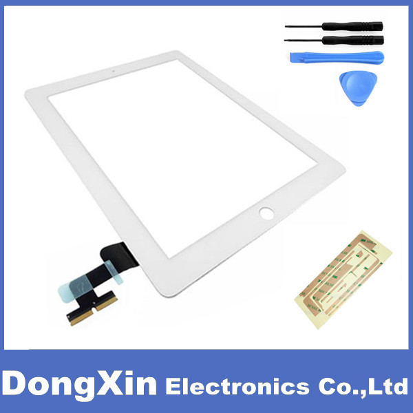 White Touch Screen Digitizer with Tools+Adhesive For iPad 2