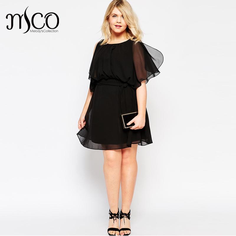 2016 Brand Elegant Summer Chiffon Dress Cute Women Flutter Sleeves Black Dresses Plus Size 4xl 5xl 6xl 7xl Vestidos(China (Mainland))
