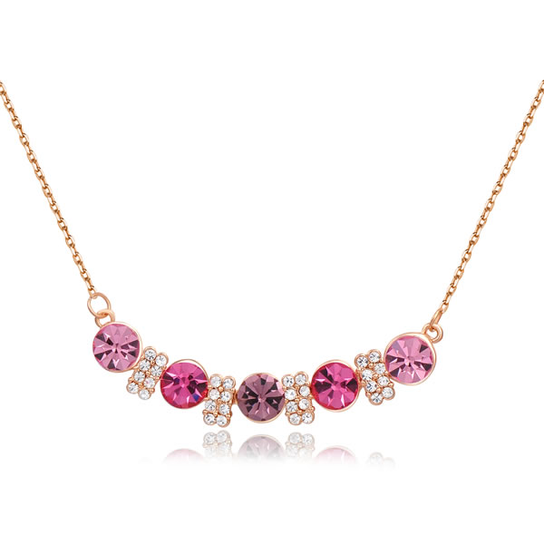 14K Gold Plated Stellux Crystals rose golden five stone purple heart Pendant Necklace for Gift of Love FREE SHIPPING ROXN076(China (Mainland))