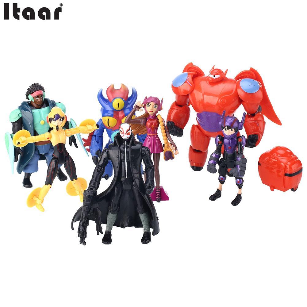 Lot of 8pcs Big Hero 6 Figure Toy Hiro, Baymax, Fred Lemon Marvel Baby Kids(China (Mainland))