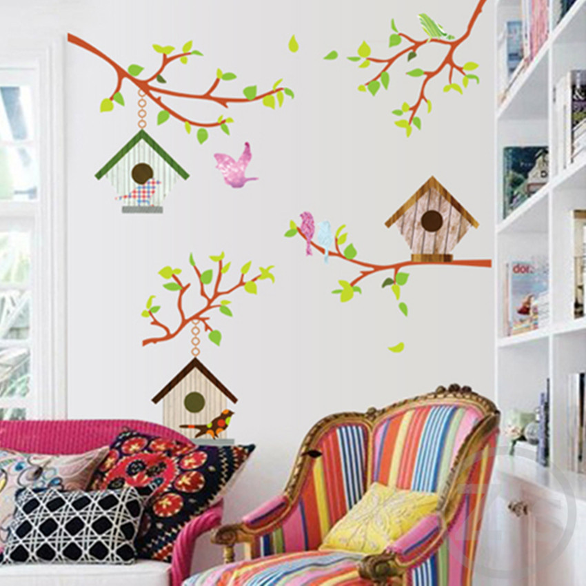 Buy Bird Cage Wall Stickers Cartoon Home