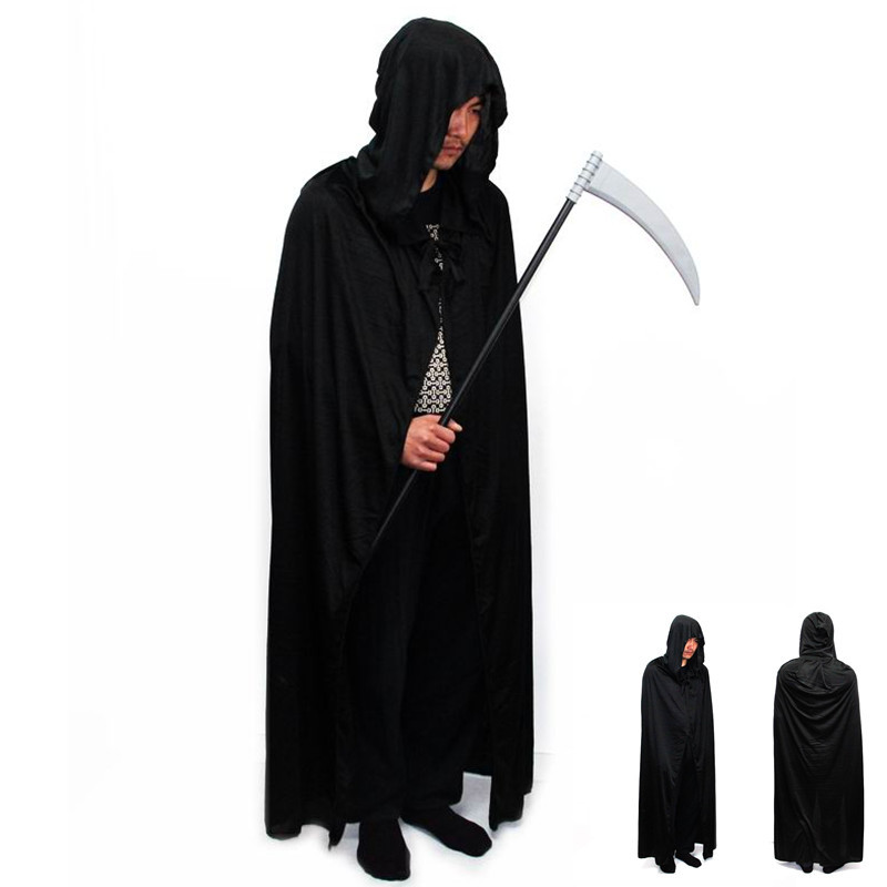 Hot Cosplay death long cloak, hooded cloak cape devil sickle, wholesale,2 color available:red ,black(China (Mainland))