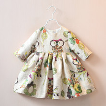 Retail Autumn New  Kids Clothes Half Character Pattern Kids Dress Fashion Hot Selling Owl Print Princess Casual Girls Dress(China (Mainland))