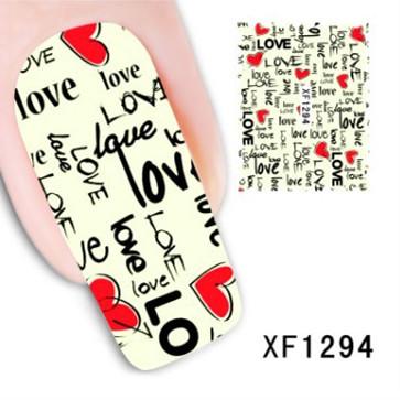 Fashion Japan Style 3D Design DIY Watermark Colorful LOVE Nail Art Sticker Water Transfer Adesivo De Unha Atacado Nail Foil(China (Mainland))