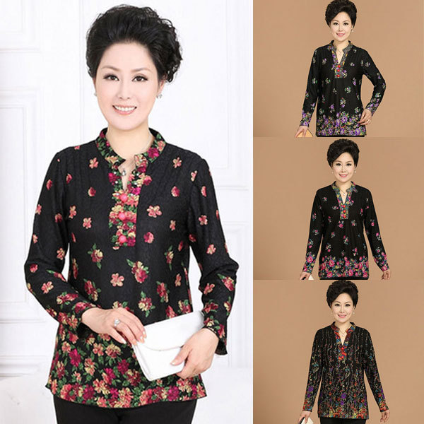 novel designs Novel designs Casual Lapel Long Sleeve Floral Print Shirt Middle-aged Lady Plus Size Fashion Shirt(China (Mainland))