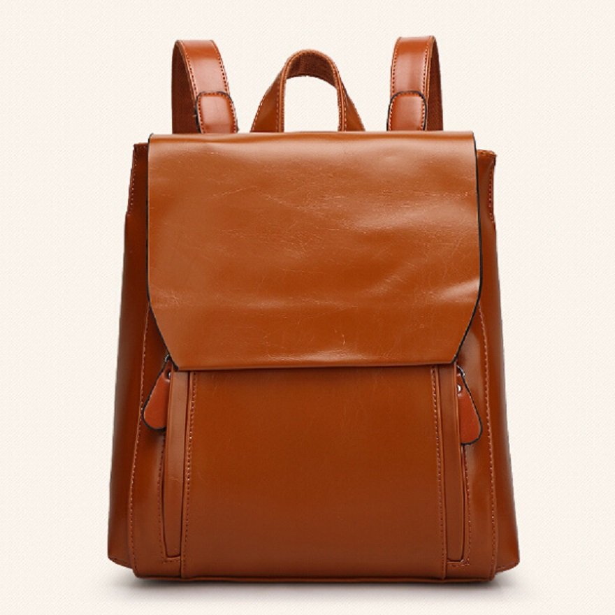 Women Casual Solid Genuine Leather Daily Backpack New Fashion 2015 Summer Style Soft Medium Vintage Female Bag WH238(China (Mainland))