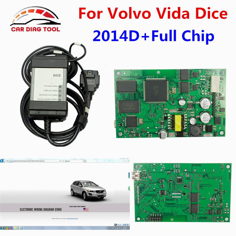 High Quality For Volvo Vida Dice 2014D Full Chip Auto Car Diagnostic Tool For Volvo Dice Pro Vida Dice Green Board Free Ship(China (Mainland))