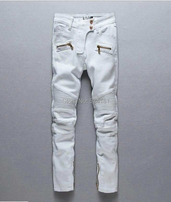 Locomotive tight self-cultivation GOLDEN ZIPPER modified white women's jeans fashion ladies - deli xie's store