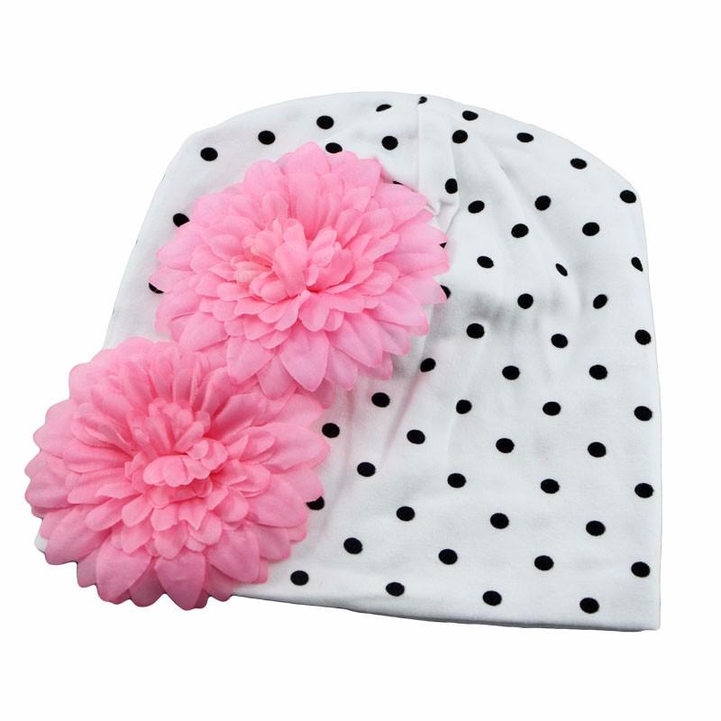 New Lovely Baby Headwear Candy Beanie Hat Big flower Beanies Toddler girls hat Infant flower beanie hat Cotton cap(China (Mainland))