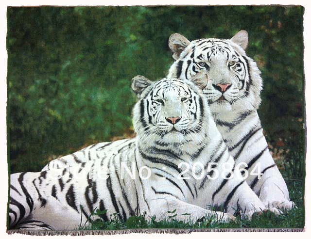 Free shipping Different sizes wall home decor fabric picture,Sweet white tiger lovers