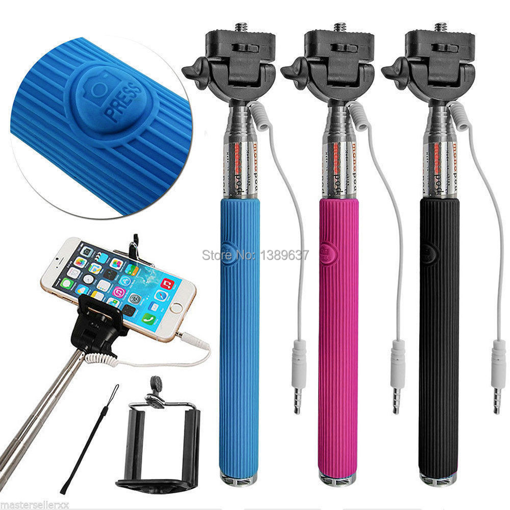 Wired Selfie Stick Handheld Monopod Built-in Shutter Extendable + Mount Holder For iPhone Samsung Smartphone Any Phones Camera(China (Mainland))