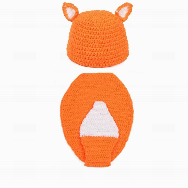 Yellow Fox Handmade Cotton Baby Knit Hat Clothes Costume Beanies Newborn Photography Prop(China (Mainland))