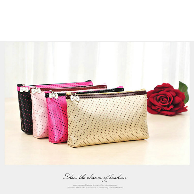 New Womens Cosmetic Organizer Pouch Makeup Zipper Storage Bag Holder with Mirror(China (Mainland))