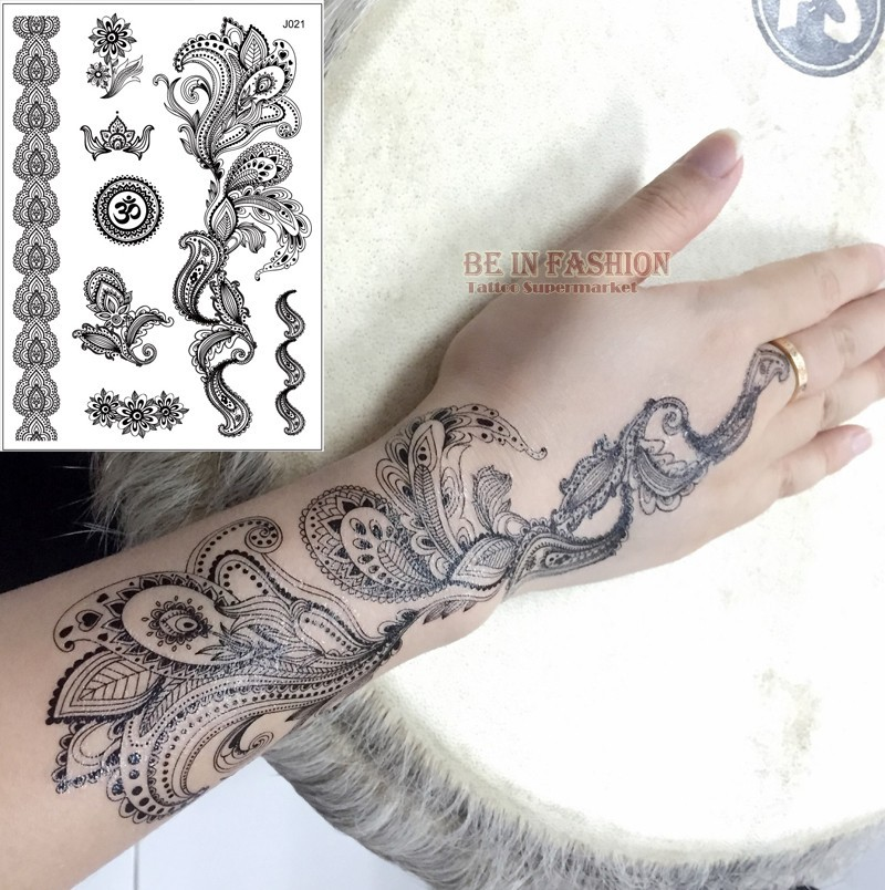 Wholesale one piece indian arabic designs lace flash for Wholesale temporary tattoos