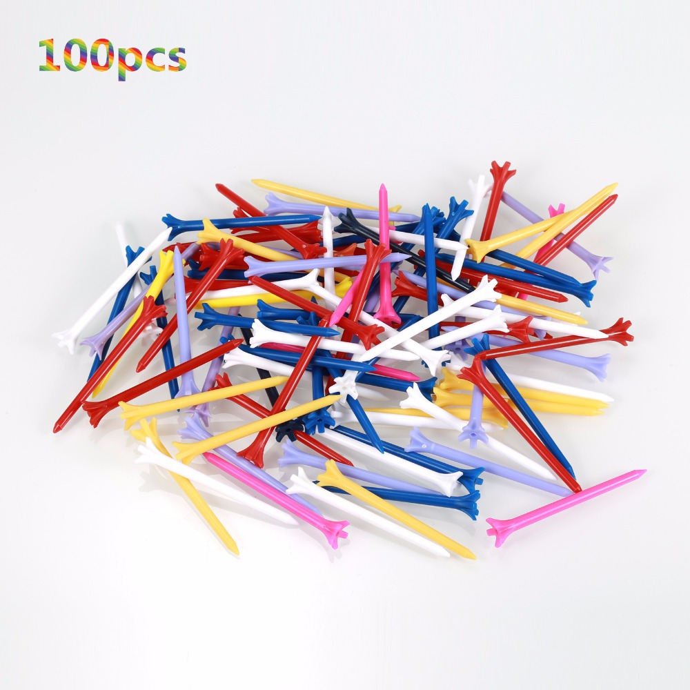 100 Pcs/Pack Professional Zero Friction 5 Prong 83mm Durable Plastic Golf Tees Golf Accessories(China (Mainland))