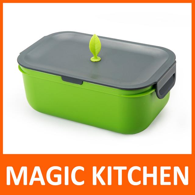 Магия кухни портативный однослойный высокое качество полипропилен коробка обеда Microwaveable бенто коробка с затемняемые цвет малый лист