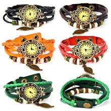 2015 nueva caliente de la venta del relogio feminino reloj de la alta calidad mujeres del cuero genuino Vintage relojes pulsera relojes de pulsera colgante de la hoja