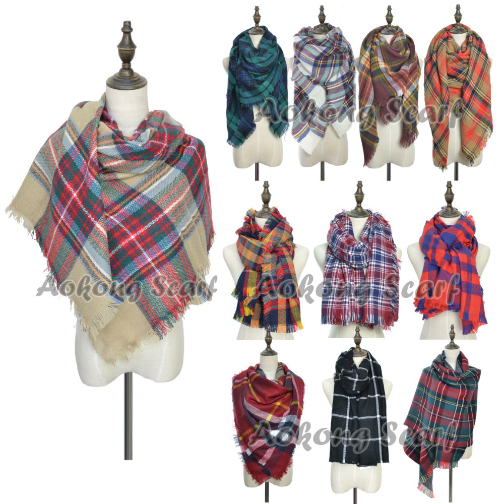 Za Winter Scarf Knit 2015 Oversize Tartan Scarf Desigual Plaid Scarf Women Bandana New Designer Acrylic Blanket Scarves Shawl(China (Mainland))