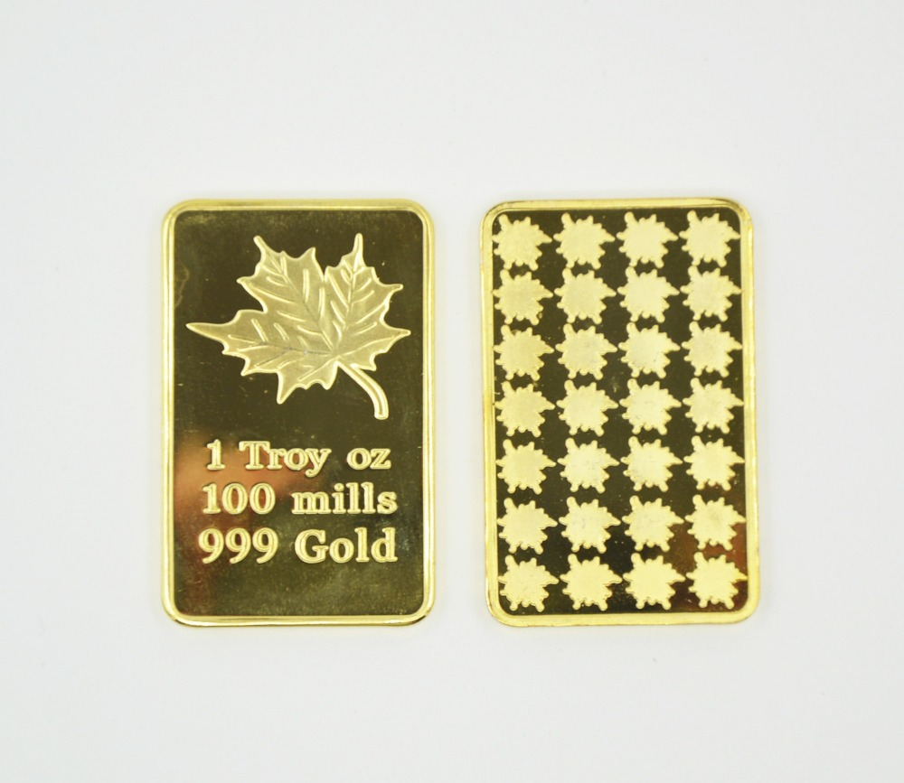 Factory Price Pure Gold Clad Bullion Bar/Coin Canadian Maple Leaf One Troy OZ Fine Replica Fake Gold Bar With Plastic Cases(China (Mainland))