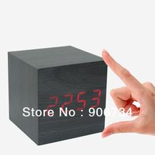 Новый бесплатная доставка 100% новое ESY1 деревянный стиль куб из светодиодов голос будильник цвет черный деревянный