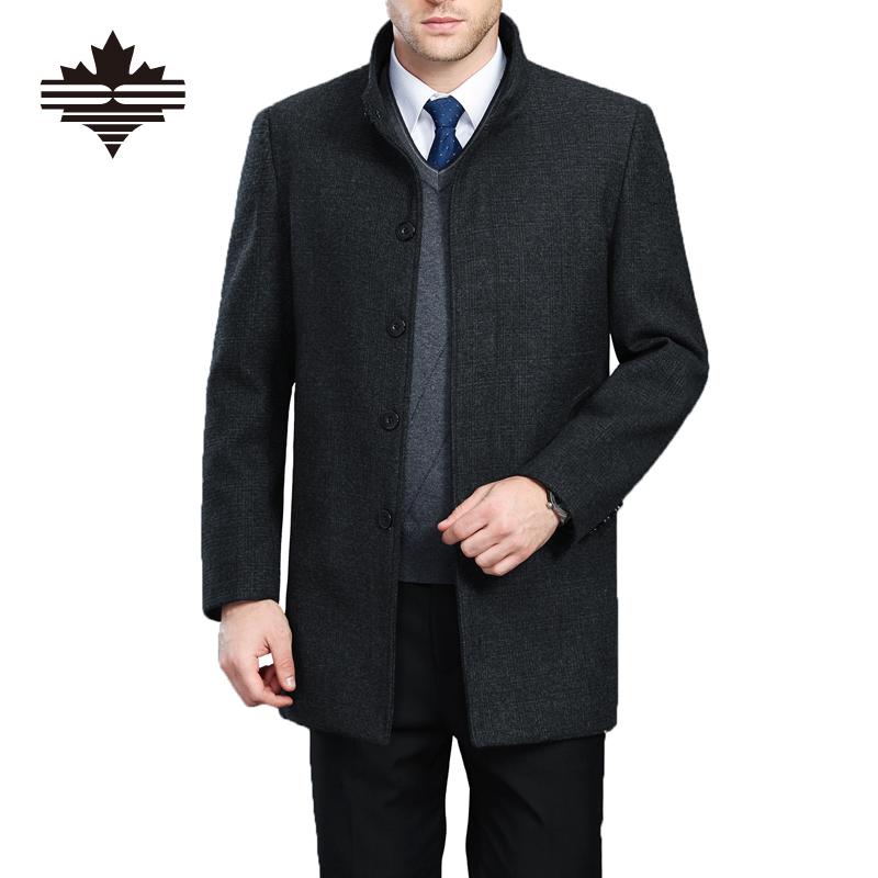 Autumn And Winter Overcoat Men Long Section Mens Wool Coat Casual Stand Collar Men's Woolen Coat Wool & Blends Warm Snow Coats(China (Mainland))
