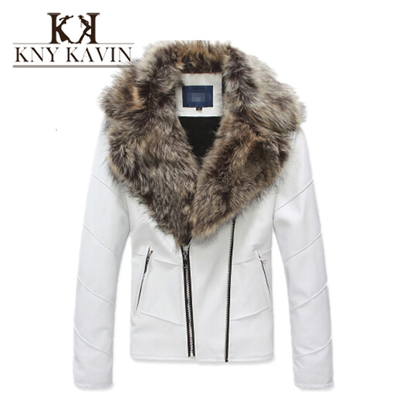 Leather jacket men fur coat biker jacket motorcycle 2015 fashion famous brand slim men leather jacket with fur collar(China (Mainland))
