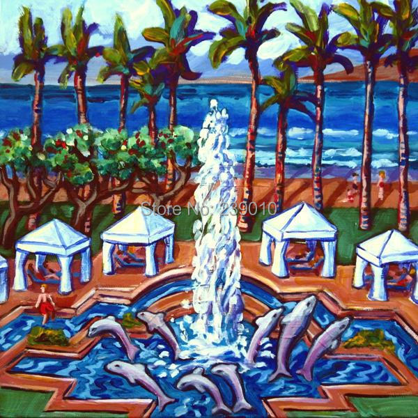 free shipping wholesale Palm beach sceneryoil painting on canvas mediterranean sea prints painting home art decoration picture