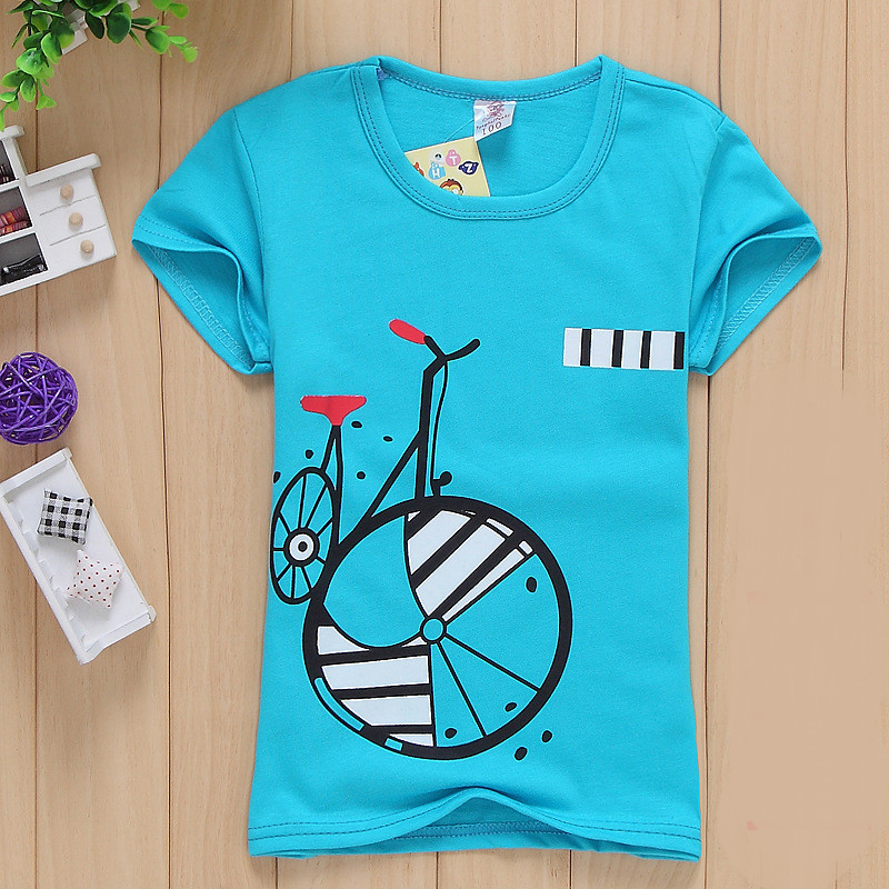 Special Offer !!! New Children Boys Summer Cotton T Shirt Lovely Bicycle Short Sleeve T Shirt Tees Kids Children Clothes Z003(China (Mainland))