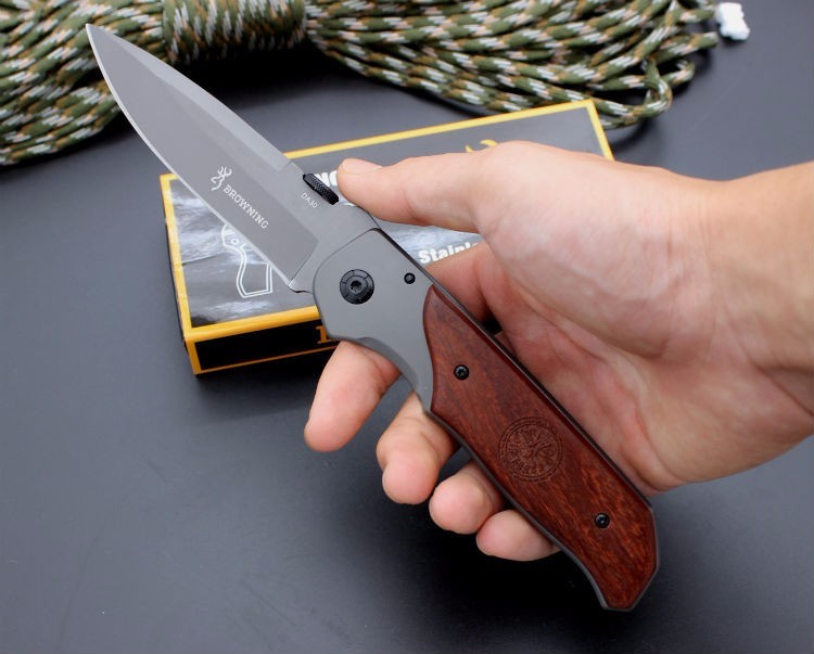Buy 5CR13MOV Blade Survival Knife BROWNING Folding Knife Wood Handle Pocket Hunting Tactical Knives Camping Outdoor EDC Tools cheap
