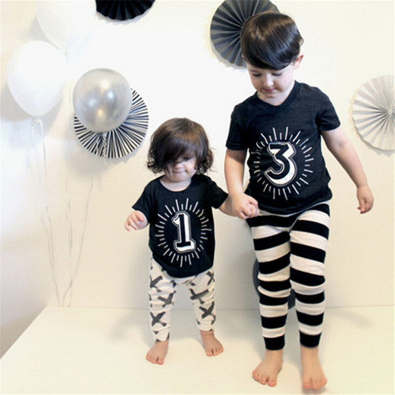 Newest 2016 Hot Sale Funny Kids Cotton T Shirt Summer Fashion Boys Girl Tops Short Sleeve Number 1,2,3,4 Print Top Tees T-shirt(China (Mainland))