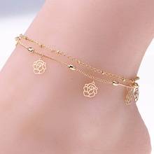Double Rows Ankle Hollow Rose Flower Chain Anklet Foot Leg Chain Foot Jewelry for women Barefoot Beach jewelry woman