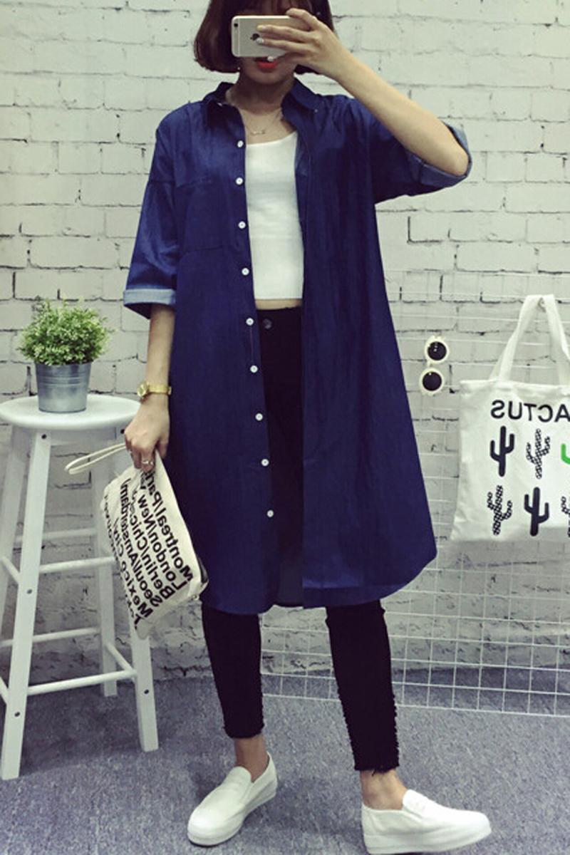 autumn women jean shirts long denim shirt fashion women tops chemisier chemise femme camisa jean. Black Bedroom Furniture Sets. Home Design Ideas