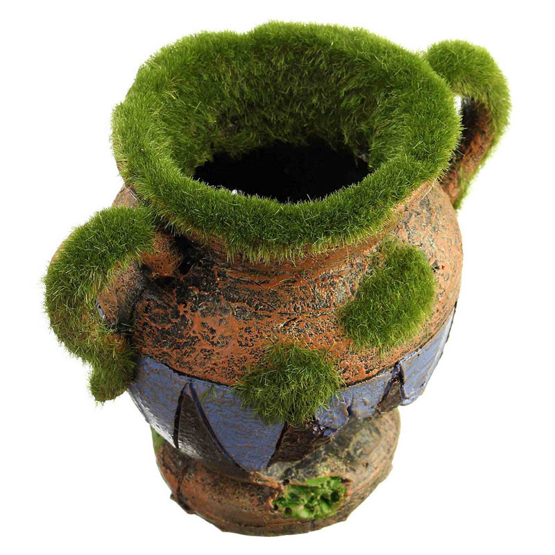 Hot sale 1pcs resin vase with moss aquarium decoration for Aquarium vase decoration