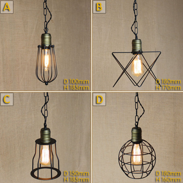 Iron Pendant Lamp Modern Vintage industrial Edison Bulbs Bar Restaurant Bedrooms Large Shopping mall Muuto E27 Art Dining room<br><br>Aliexpress