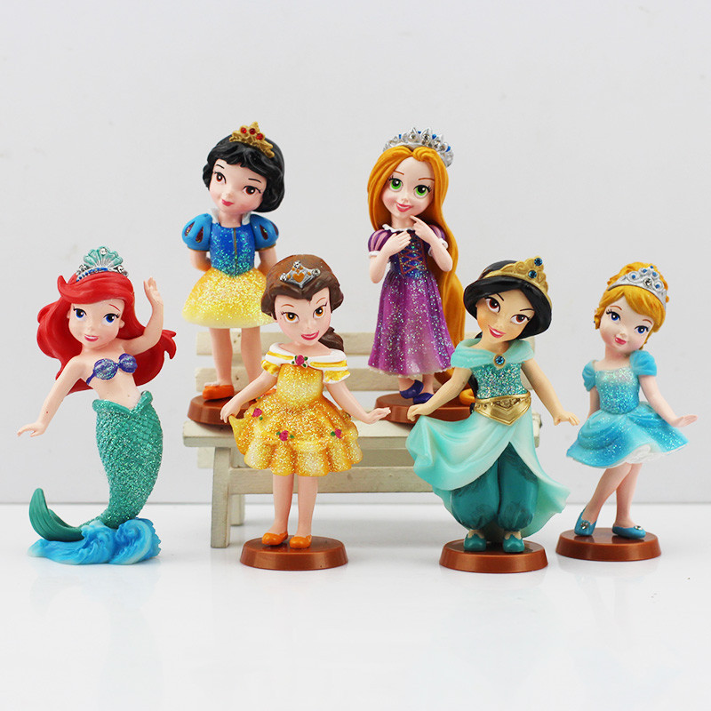 6Pcs/set Princess PVC Cinderella Snow White Rapunzel Jasmine Thinkbell Bella Ariel action Figure Dolls For Girl robot minion(China (Mainland))