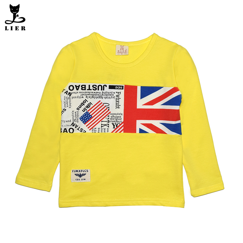Fashion Casual Boys Clothes Kids Long Sleeve Cotton British American Flag Patter T-shirts Autumn Spring Tops&Tees Children Wear(China (Mainland))
