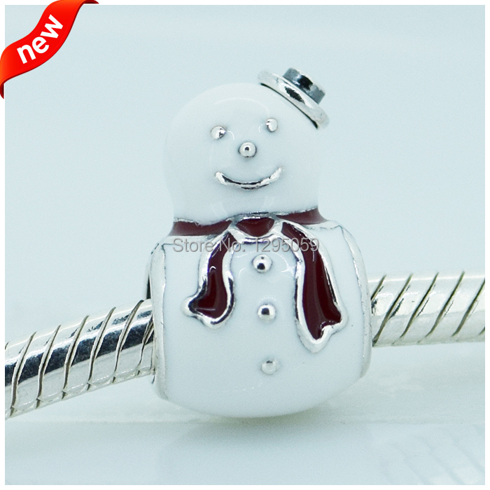 DIY Fit for Pandora Bracelet Happy Snowman Charms 100% 925 Sterling Silver Fashion Beads Jewelry Wholesales Free Shipping(China (Mainland))