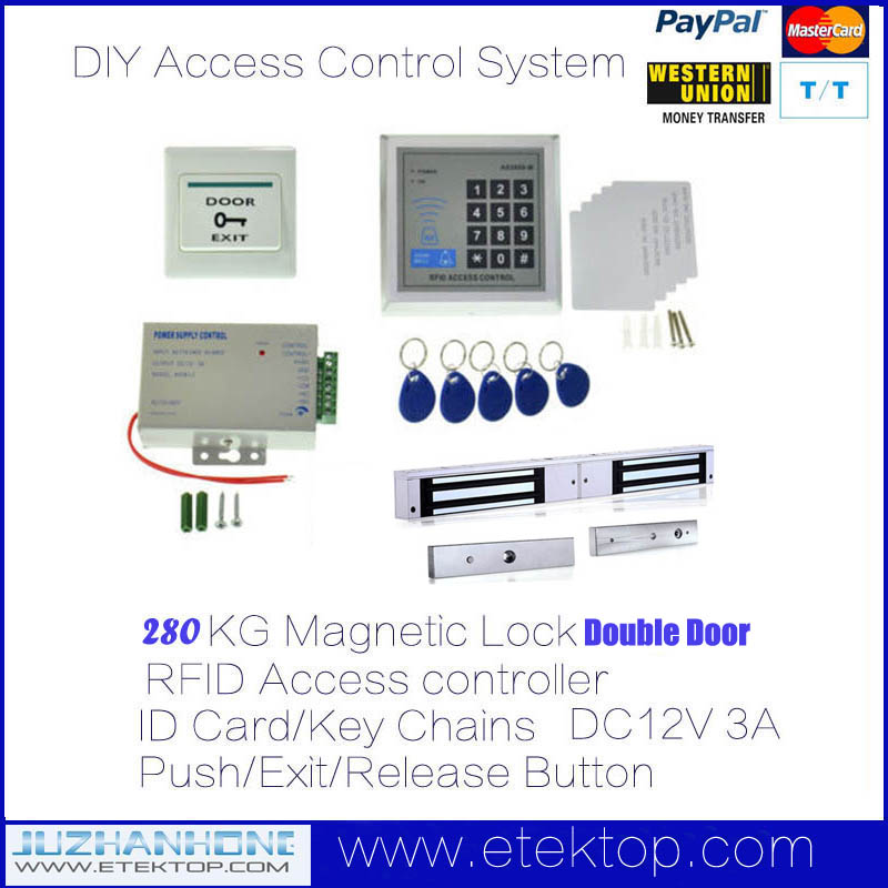 Double Door 280KG Electric NC Magnetic Lock RFID Door Entry Access Control System Kit(China (Mainland))