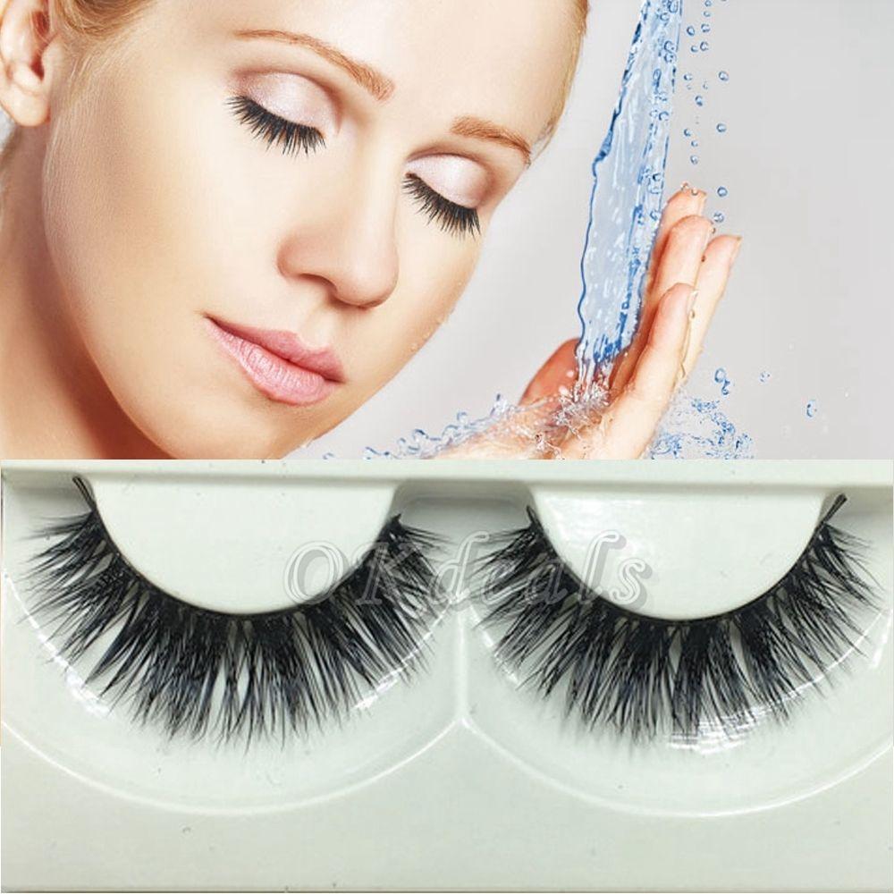 1Pair Real Mink Natural Makeup Extension Tool Thick False Eyelashes Fake Eye Lashes(China (Mainland))
