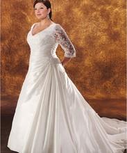 2015 New Arrival Sexy V-Neck Long Train Royal wedding dresses White Ivory Taffeta Applique Beaded Wedding Dress Plus Size(China (Mainland))