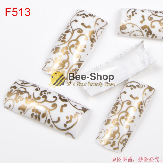 100pcs White Half Cover Nail Art Luxury Painting Gold Color Strips Patterns Work Acrylic False Nail Tips Fake Nail Tip BF513(China (Mainland))