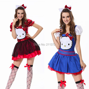 Fashion Ladies Very Cute Adult Hello Kitty Fancy Dress Up Halloween Party Fantasize Costumes For Female Blue and Red Size in M
