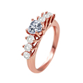 Almei Rings for Women Female Wedding Ring CZ Diamond Vintage Anel Rose Gold Plated Anillos Bague