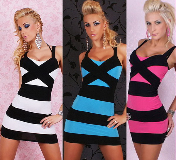 New 2015 Sexy & Club Women Contrast Color Striped Spaghetti Strap Package Hip Bandage Dress, Blue, White, Hot Pink, M, XL(China (Mainland))